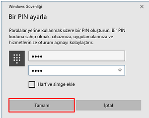 windows 10 pin kodu eklme1