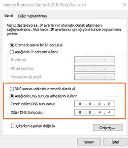 windows 10 dns değiştirme4