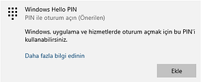 windows 10 pin kodu eklme